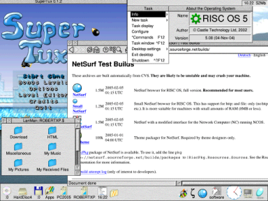 [RISC OS 5 desktop, running on an Iyonix, showing SuperTux, NetSurf and LanMan in action]
