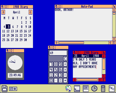 [Screenshot of Arthur Desktop, running Diary, Note-Pad and Calculator]