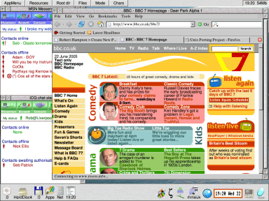 Firefox running on RISC OS, displaying the BBC7 homepage