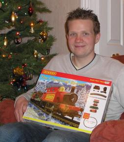 Rob holding the Hornby Christmas Special train set