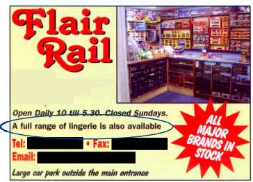Advertisement for Flair Rail shop -- full range of lingerie also available