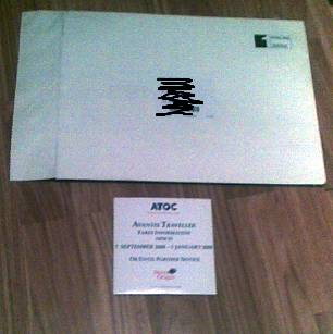Envelope which arrived from TSO
