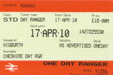 Cheshire Day Ranger ticket issued on 17th April 2010