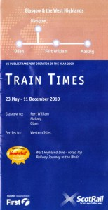 ScotRail West Highland Line timetable cover