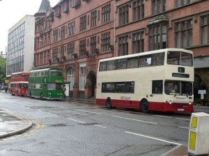Buses line up in Victoria Street
