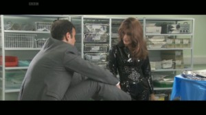 Alexandra Carmichael and Dr Bond in a moment of sexual non-tension