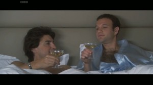 Dr Bond and Mr Venezuela share a drink in bed