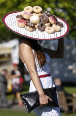 Woman wearing a doughnut hat
