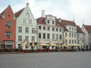 View of restaurants in Town Hall Square, Tallinn