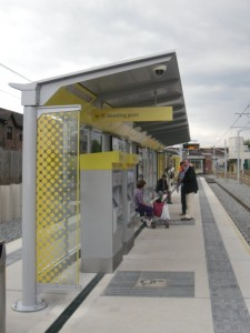 Photo of platform and shelter at St Werburgh's Road Metrolink Station
