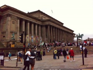 Photo of people assembling outside St George's Hall