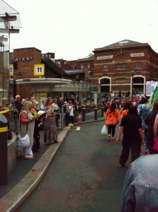 Photo of Liverpool Pride marchers in Queen Square Bus Station
