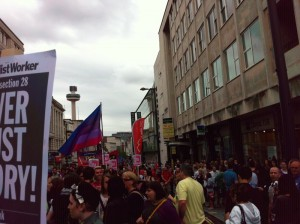 Photo of Liverpool Pride marchers in Lord Street