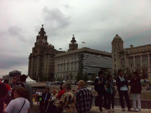 Photo of Liverpool Pride marchers arriving at the Pier Head