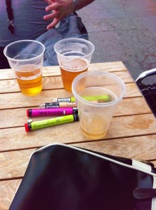 Photo of pints of beer and shots-in-a-tube