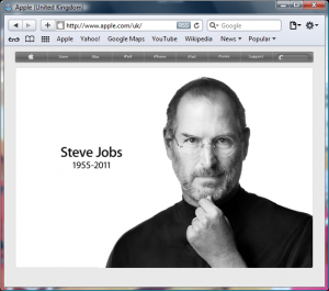 "Screenshot of Apple.com web page showing ""Steve Jobs 1955-2011"""