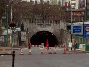 Photo of closed Queensway Tunnel entrance