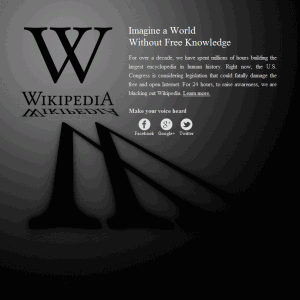 Screenshot of Wikipedia homepage showing blacked out screen