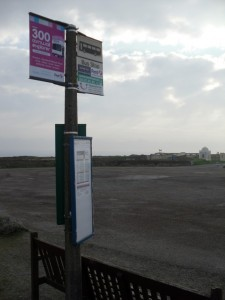 Photo of bus stop and empty car park at Land's End
