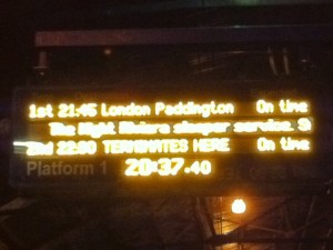 Photo of platform indicator showing Night RIviera sleeper to London Paddington