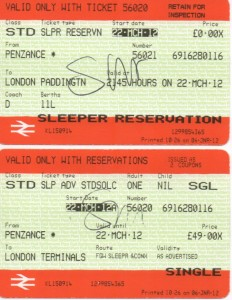 Ticket for the Night Riviera sleeper service