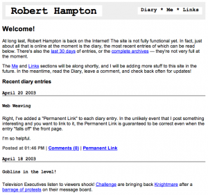 Robert Hampton web site from 2003