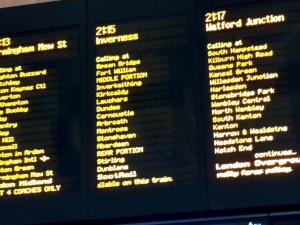 Euston departure board