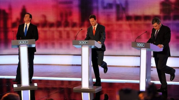 Picture of Cameron, Clegg and Brown at BBC Election Debate